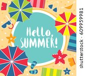 summer hello beach vector flat... | Shutterstock .eps vector #609959981