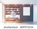 dark wooden workplace with a... | Shutterstock . vector #609973154
