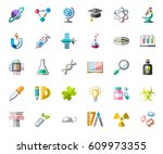 science  icons  color  vector.... | Shutterstock .eps vector #609973355