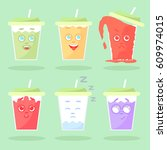 set of colored lemonade with... | Shutterstock . vector #609974015
