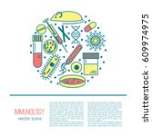 immunology research icons...   Shutterstock .eps vector #609974975