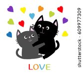 black gray cat hugging couple... | Shutterstock . vector #609977309