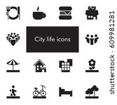 vector set of 14 icons showing... | Shutterstock .eps vector #609981281