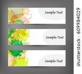 set of abstract modern banner.... | Shutterstock . vector #609984029