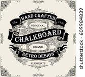 retro hand drawn ribbon black... | Shutterstock .eps vector #609984839