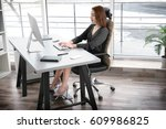 posture concept. young woman... | Shutterstock . vector #609986825
