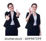 smiling businesswoman standing... | Shutterstock . vector #609987299