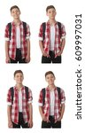 cute teenager boy in red... | Shutterstock . vector #609997031