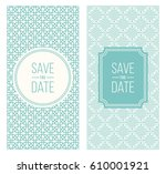 two retro wedding invitation... | Shutterstock .eps vector #610001921