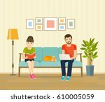 man  woman and cat sitting on... | Shutterstock .eps vector #610005059