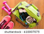 women's things collected in a...   Shutterstock . vector #610007075