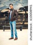 cool man beautiful model... | Shutterstock . vector #610008941