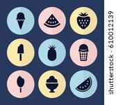 set of 9 sweet filled icons... | Shutterstock .eps vector #610012139