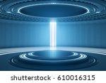 futuristic teleport station in... | Shutterstock . vector #610016315