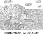coloring for adult with... | Shutterstock .eps vector #610016339