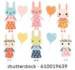 cute colorful cartoon bunnies...   Shutterstock .eps vector #610019639
