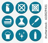 set of 9 cleaning filled icons... | Shutterstock .eps vector #610029431