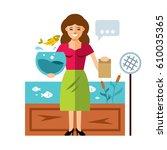 vector shop aquarium fish. flat ...   Shutterstock .eps vector #610035365