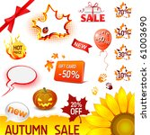 vector autumn sale icons set | Shutterstock .eps vector #61003690