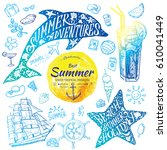 summer holidays watercolor... | Shutterstock .eps vector #610041449