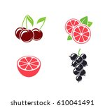 tropical fruit and citrus fruit.... | Shutterstock .eps vector #610041491