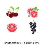 tropical fruit and citrus fruit.... | Shutterstock .eps vector #610041491