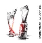 athletic legs   sport and... | Shutterstock .eps vector #610044101