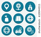 set of 9 map filled icons such...   Shutterstock .eps vector #610044311
