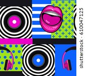 pop art musical pattern with... | Shutterstock .eps vector #610047125