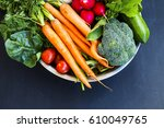 fresh organic vegetables bowl... | Shutterstock . vector #610049765