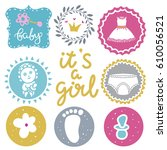 baby icons set. rattle ... | Shutterstock .eps vector #610056521