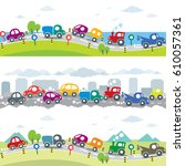 cars on the road. seamless... | Shutterstock .eps vector #610057361