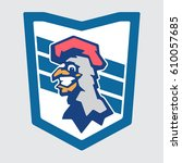 cheerful rooster mascot  team...   Shutterstock .eps vector #610057685
