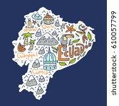 cartoon map of ecuador   hand...   Shutterstock .eps vector #610057799