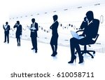 group of businessmen and... | Shutterstock .eps vector #610058711