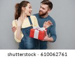 portrait of a smiling husband... | Shutterstock . vector #610062761