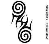 tribal tattoo art designs.... | Shutterstock .eps vector #610065089