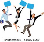 people at work jumping for joy  ... | Shutterstock .eps vector #610071659