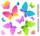beautiful color butterflies set ... | Shutterstock .eps vector #610073381