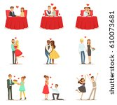 couples in love romantic st.... | Shutterstock .eps vector #610073681