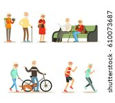 old people living full live and ... | Shutterstock .eps vector #610073687