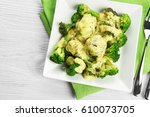 white plate of delicious... | Shutterstock . vector #610073705