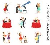 couples in love romantic st.... | Shutterstock .eps vector #610073717