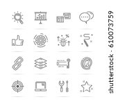 seo vector line icons  minimal... | Shutterstock .eps vector #610073759
