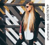 young blond woman in sunglasses ... | Shutterstock . vector #610078769