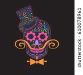 skull vector gentleman with... | Shutterstock .eps vector #610078961