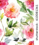 watercolor seamless vertical... | Shutterstock . vector #610081361