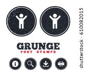 grunge post stamps. child icon. ... | Shutterstock .eps vector #610082015