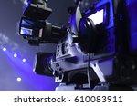 tv camera in a concert hal.... | Shutterstock . vector #610083911