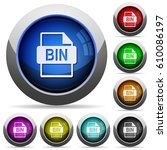 bin file format icons in round... | Shutterstock .eps vector #610086197